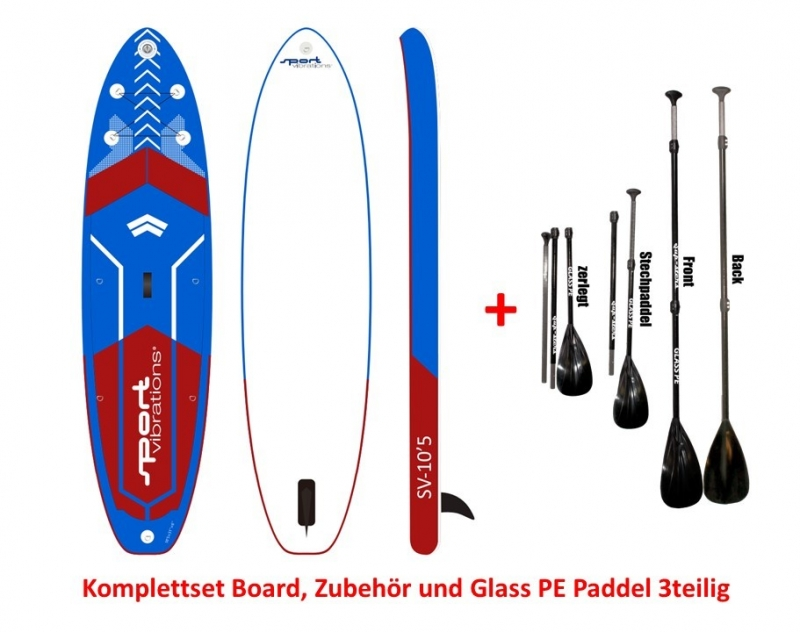 Sport Vibrations 10,5 Allround Touring SUP COMPLETE SET incl Glass PE Paddle 3pcs