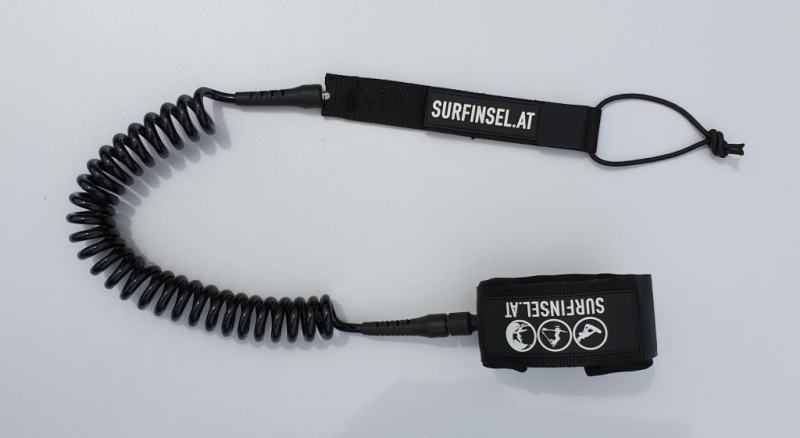 SUP Leash Line Coiled  for knee or ankle black