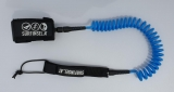 Coiled SUP leash line for knee or ankle blue
